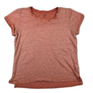 Crosby Orange 100% Linen Scoop Neck Tee Shirt M